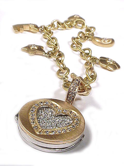 """Large Green Gold Love Locket"""